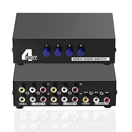 SIENOC 4-Wege AV Switch 4 in 1 heraus Audio Video L / R RCA Selector Switch Box Splitter Schwarz für DVD STB Spielkonsolen Audio Selector