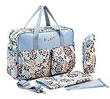 5 Pcs Bolso Maternal para Carro Carrito Grande Bolso Bandolera Estampado con Bolsa de Biberón Cambiador portatil Impermeable - Azul