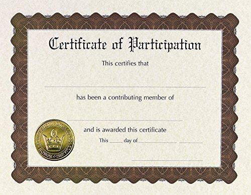 Tolles Papier. Beteiligung Zertifikat, vorgedruckte Gold Folie und geprägt, 21,6x 27,9cm 6Count (930800) -