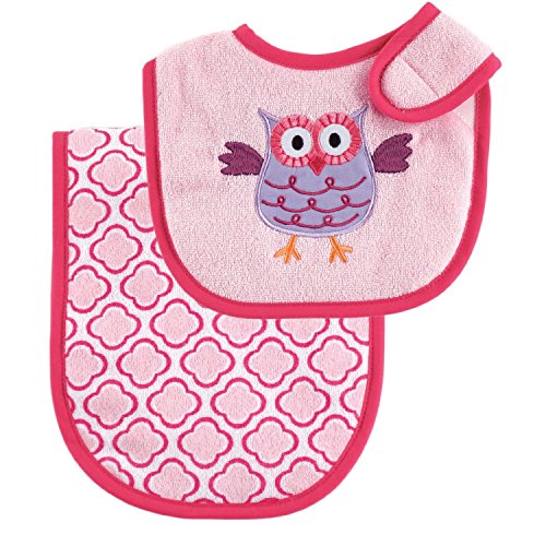 Luvable Friends Baby Burp Cloth and Bib Set (Pink Owl)