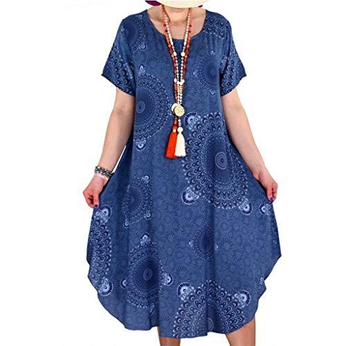 BoyYang ✿ Sommerkleider Beiläufige Lose Kleid Damen Kurzarm Rundhals Strand Blumen Boho Lang Maxi Kleider Abendkleid Knielang S-5XL