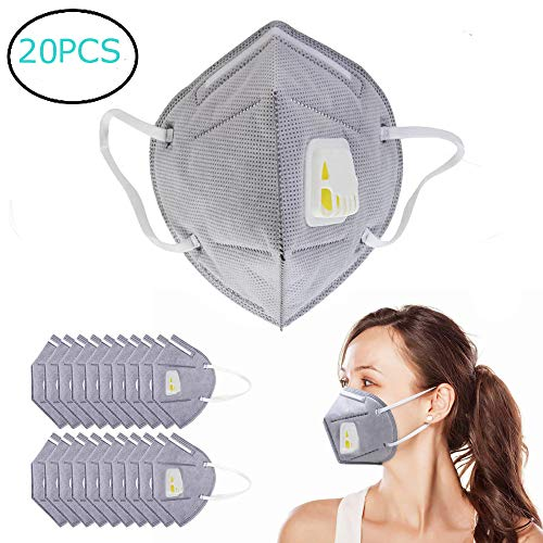 Einweg-luftfilter (Staubmaske Atemschutzmaske N95 Einweg-Partikel Atemschutzmaske Mundmaske mit Atemventil, 5 Schichten, Aktivkohle-Luftfilter, elastische Ohrschlaufe, 20 Stück)
