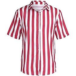 LHWY Camisa de Hombre Tops Shirt 2019 botón Holgado de Manga Corta con Estampado Hawaiano Playa Holgada Top Blusa Raya Rojas Hawai Camisa Gran tamaño Solapa impresión Camiseta Rojo XXL
