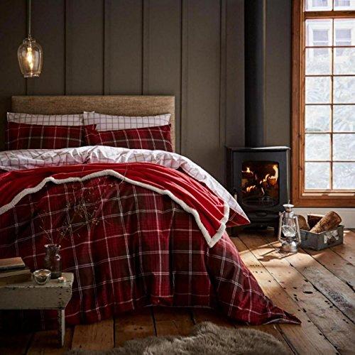 Tartan Check Red King Größe Bettbezug-Set mit Kissenbezug Biber gebürstete Baumwolle Catherine Lansfield (Tartan-check)