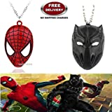 (2 Pcs AVENGER SET) - SPIDERMAN MASK & BLACK PANTHER IMPORTED PENDANTS WITH CHAIN. LADY HAWK DESIGNER SERIES 2018. ❤ ALSO CHECK FOR LATEST ARRIVALS - NOW ON SALE IN AMAZON - RINGS - KEYCHAINS - NECKLACE - BRACELET & T SHIRT - CAPTAIN AMERIC