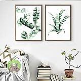 Cqzk Leafs Fashion Poster Palm Leinwand Malerei Poster und Drucke Pflanze Wand Pop Art Vogue Bild Für Wohnzimmer Dekor Für Home40x60cmx2 Kein Rahmen