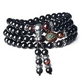 COAI® 108 Perlen Multilayer Rotes Tigerauge und Obsidian Mala Wickelarmband Gebetskette für Damen/Herren
