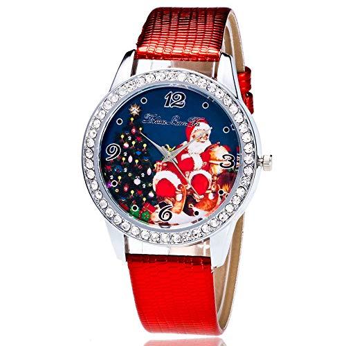 Heiße Weihnachtsuhr LSAltd Männer und Frauen Neue Art und Weise Weihnachtsmann Druck Quarz Uhr beiläufige Uhren Elegantes Armband Weihnachts Unisex Uhr