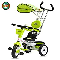 Kids Trike, 4 in 1 Tricycle 3 Wheel with Canopy & Safety Guard, Removable Parent Handle, Colourful Design with Safe And Secure Design - Ages 15 Months+