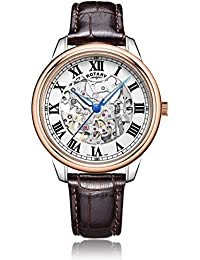 Rotary Men's Automatic Watch with White Dial Analogue Display and Dark Brown Leather Strap GS00655/01
