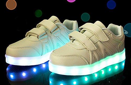 Firstmall-LED Chaussures 7 Couleur Unisexe garçons et filles enfants USB Charge LED Chaussures de Sports Baskets Blanc