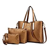 Damen Handtasche, Mode PU Lackleder Tasche mit Alligator Muster, 3-teiliges Set mit Crossbody Tasche und Geldbeutel/ Leder Handtasche + Schultertasche + Geldbeutel 3pcs Beutel Gelb