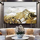 MOLINB Pittura ad Olio Quadri e Stampe su paesaggi Moderni Quadri su Tela Pittura Golden Mountain And Birds Immagini per Soggiorno Decor No Frame, 60x80cm No Frame