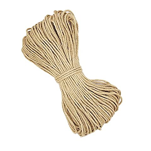 100% Natural Durable Jute Rope 20m Ø 5mm Hemp Rope Cord for Arts Crafts DIY Decoration Gift Wrapping (5mm*20m)