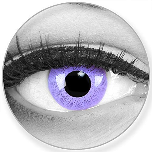 Funnylens Farbige Kontaktlinsen Solar Purple in violett - weich ohne Stärke 2er Pack + gratis Behälter - 12 Monatslinsen - perfekt zu Halloween Karneval Fasching oder Fasnacht