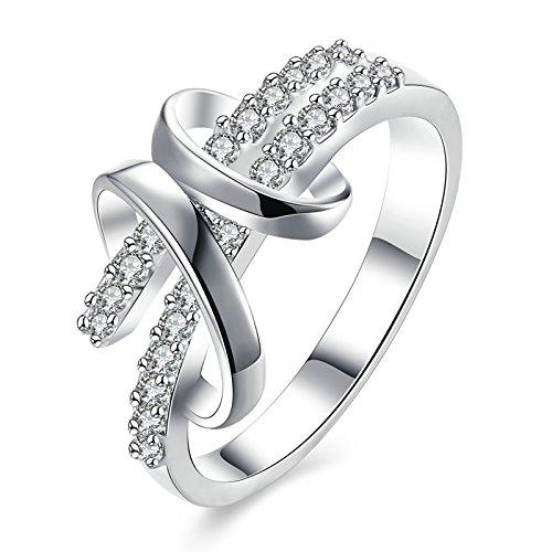 Gnzoe Schmuck Damen Versilbert Finger Ringe Elegant Oval Form Eheringe Band mit CZ Zirkonia Weiß Silber Gr.57 (18.1) (Ringe Versprechen Zales)