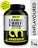 Abbzorb Nutrition Raw plus Whey Protein 80% with Digestive Enzymes (Unflavoured) - 1kg