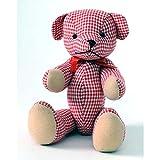 HAB & GUT (UD005V-F Teddybär Selma, Popart Teddy, Stofftier Gingham-Muster weiß, rot, 19 cm
