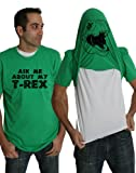 Crazy Dog Tshirts Mens Ask Me About My Trex T Shirt Funny Cool Dinosaur Flip Up Novelty Tees (Green) - S - herren - S