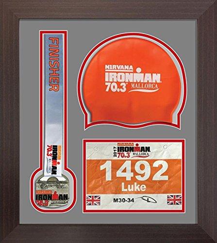 Kwik Picture Framing Ltd Ironman Staffordshire 70 3 Triathlon Marathon, Running Medal Swimming caps Display Frame Grey Mount - Mahagony Frame