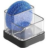 mDesign - Centro de guardado de esponjas y estropajos, para fregadero de cocina; guarda esponjas, estropajos, jabón - Negro mate/claro