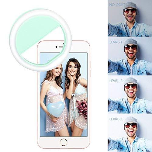 Yiiyaa Selfie Kamera Ringlicht Für Handy LED Ringleuchte Ring Licht Fotolicht, Dimmbar Aufsteckbar Wiederaufladbar mit 4 Ebene Helligkeit Universell Für iPhone 7, 7 Plus, 6S, 6, 5S, Samsung. Grün