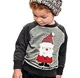 Covermason Winter Kinder Baby Jungen Sweatshirt Tops Weihnachtsmann Pullover Outwear Kleidung (90 (2T), Grau)