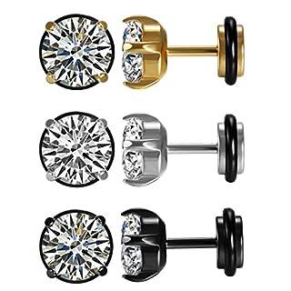 Aroncent 3 Paar Unisex Ohrstecker Set 7mm Breit Klassische Edelstahl Zirkonia Runde Kreis Ohrringe Ohr Piercing Geschenk für Herren Damen Schwarz Gold Silber