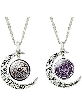 Jiayiqi Frauen Glück Pentagramm Charme Halskette Halbmond Anhänger Glas Edelstein Halskette