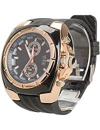 Rrimin Sports Design Quartz Round Dial Black Rubber Strap Men Wrist Watch