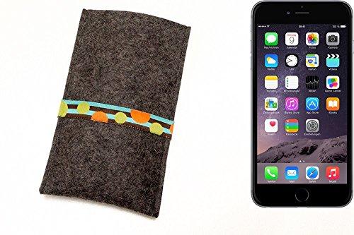 """flat.design Filzhülle """"Lisboa"""" für Apple iPhone 6 Plus - passgenaue Handytasche aus 100% Wollfilz (anthrazit) - made in Germany Schutz Case für Apple iPhone 6 Plus Kreise - anthrazit"""