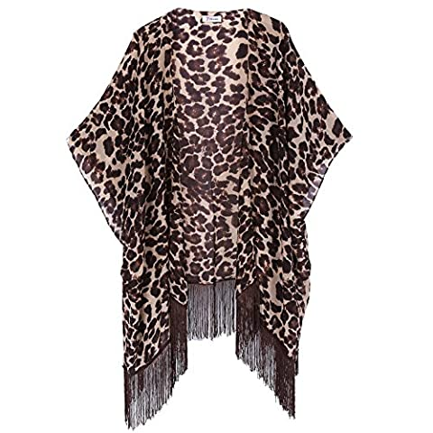 Women's Floral Aztec Leopard Light Chiffon Beachwear Cover-ups Kimono Cardigan Outfit Soul Young