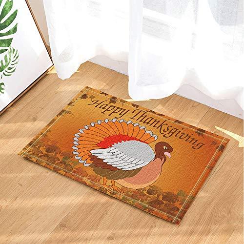 fdswdfg221 Thanksgiving-Dekor-Karikatur die Türkei und Blätter Bad Teppiche Griffige Fußmatte Boden Einfahrten Innenvorder Fußmatte Kinder Badmatte Bad-Accessoires (Dekor Türkei Die)