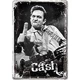 Nostalgic-Art 10169 Celebrities - Johnny Cash - Finger, Blechpostkarte 10x14 cm