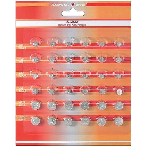 Wentronic - Set de pilas de botón alcalinas (36 unidades) 2 sets