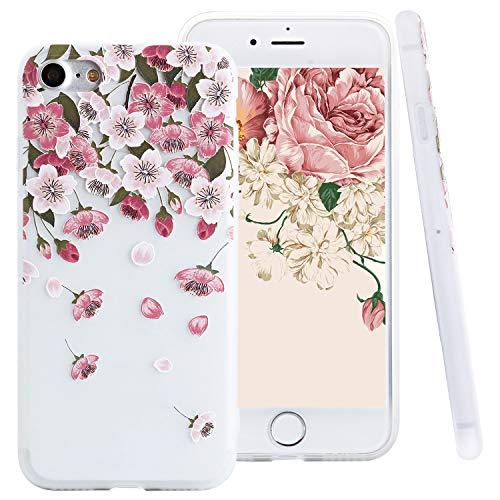 "ZXK CO iPhone 7 Hülle Flowers, iPhone 8 Silikonhülle, Ultra Dünn Weich Hülle mit Blumen Muster TPU Silikon Handyhülle Transparent für iPhone 7/8 4,7""-Blütenblatt"