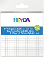 HEYDA pastilles adhésives 3-D, 5 x 5 mm, blanches, haut 3mm