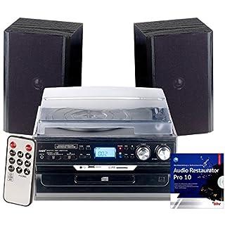 auvisio Kassetten digitalisieren: 5in1-Plattenspieler mit Bluetooth, Digitalisier-Funktion und Software (Schallplatten digitalisieren)