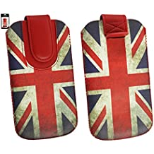 Emartbuy® Union Jack Print Premium Cuero PU Funda Carcasa Case Tipo Bolsa Cover Holder ( Size 3XL ) con Mecanismo de Pestaña para Estirar adecuada para Bogo LIfestyle 4SL-QC Smartphone 4 Inch