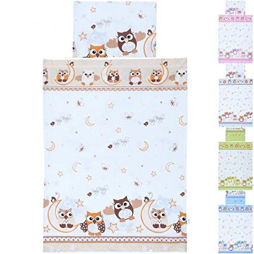 LCP Kids EULEN braun 2 teiliges Baby und Kinder Bettwäsche Set 135x100 cm + 60x40 cm Garnitur (Bettwäsche-set Für Ein Kinderbett)