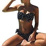 Frauen Bikini Punkt gedruckt bedruckt Badeanzug, mamum Frauen Sexy Dot Bikini Set Push-Up gepolstert Schleife Badebekleidung Badeanzug Beachwear m Schwarz