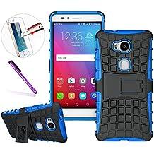 'Huawei Honor 5X Funda, [diseño neumático] Tough Armor elegante alta calidad Premium A Prueba de Golpes Defender rígida de plástico de doble capa protección híbrido carcasa de la carcasa con función atril [buen agarre] Shock Drop Bump resistente al impacto para Huawei Honor 5X + 1pcs de protector de pantalla de cristal templado + 1lápiz capacitivo, color azul