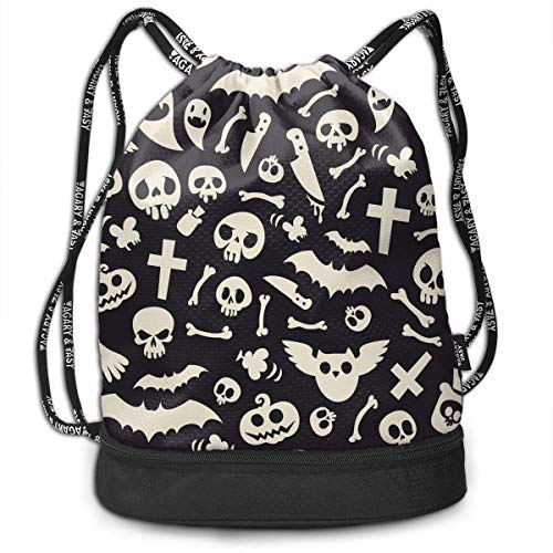 MLNHY Skull Bat Halloween Multifunctiona Drawstring Sport Backpack Foldable Sackpack