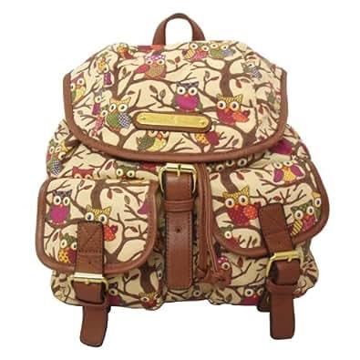 LYDC Anna Smith Large Authentic Celebrity Designer Retro Owl Tree Pint Rucksack Backpack