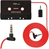BESDATA Adaptateur Cassette Avec Fonction Microphone Pour Auto Radio iPhone iPad iPod MP3 Mobile Noir