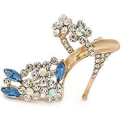 Avalaya - Broche con diseño de zapato de tacón alto con cristales transparentes y azules de metal chapado en oro - 45 mm