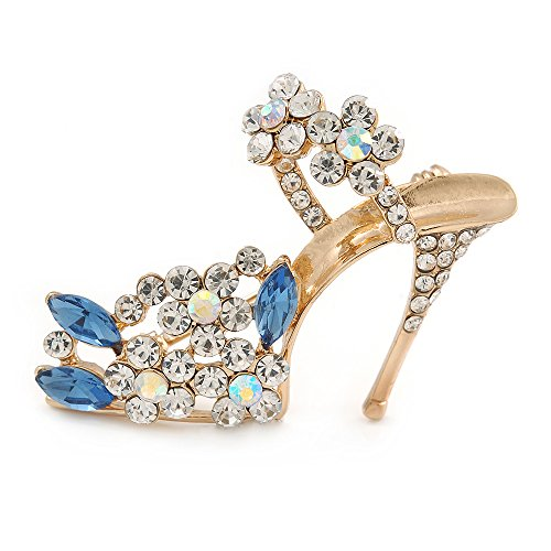 Clear/ Blue Crystal Sexy High Heel Shoe Brooch In Gold Plated Metal - 45mm -
