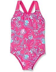 Speedo Sea Squad Allover Bañador 1 Pieza, Niñas, Rosa (Vegas Pink / Pink Splash / Bali Blue), 4 Años