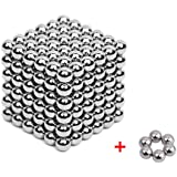 Magnetic Blocks Cube Sculpture Toys with 200 Plus 6 Backup 5 MM Magic Balls Intelligence Development Toys Stress Relief Decoration | Carrying Bag Plastic and Card Separator - Silver