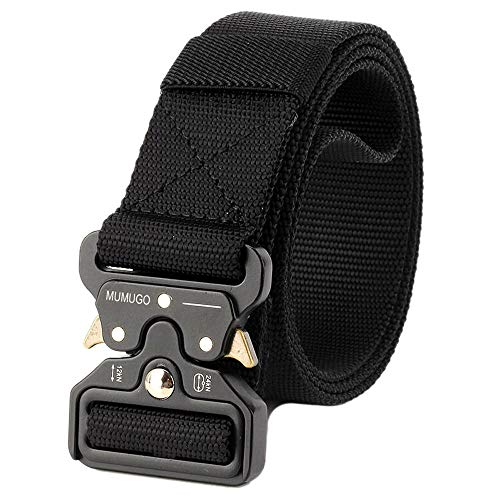 MUMUGO Men's tactical belt Military style with us Heavy-duty nylon belt for hunting training Army running
